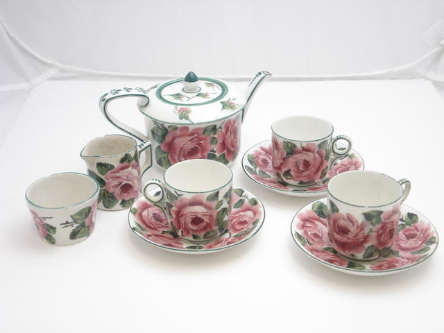 A Wemyss part tea set 'Cabbage Roses'