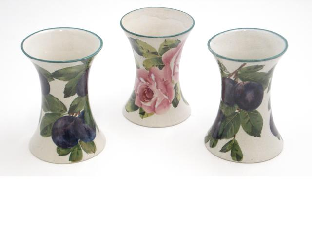 A pair of Wemyss beaker vases 'Plums'