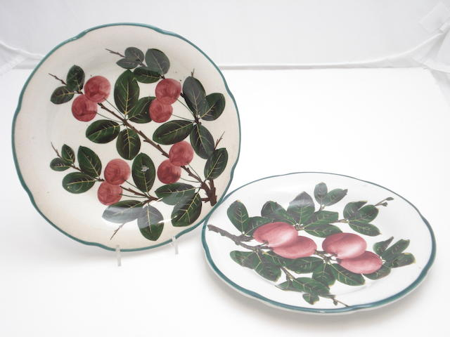 Two Wemyss Gordon dessert plates, one 'Cherries', one 'Plums'