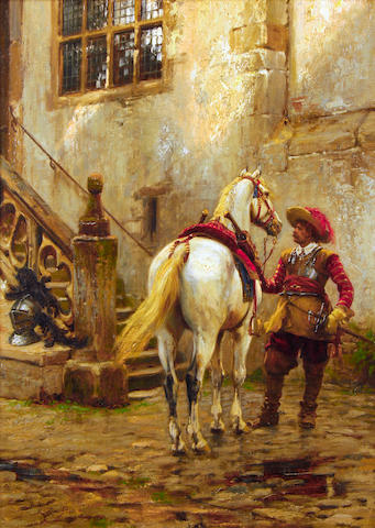 Ernest Crofts (British, 1847-1911) A fresh horse
