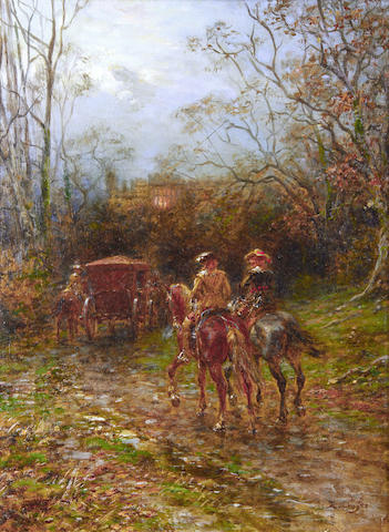 Ernest Crofts (British, 1847-1911) My Lady's escort, Haddon Hall