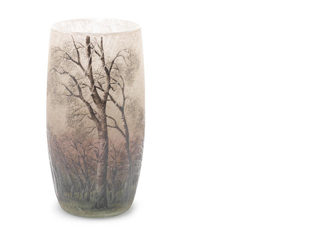 Daum acid etched vase - Trees in Rainstorm