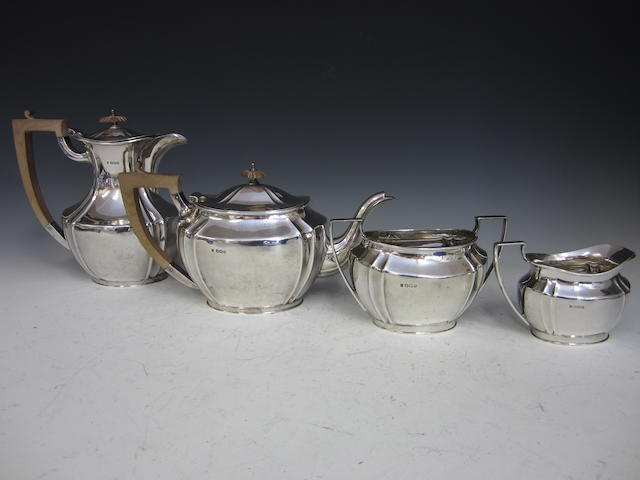 A silver four piece tea service Sheffield 1930  (4)