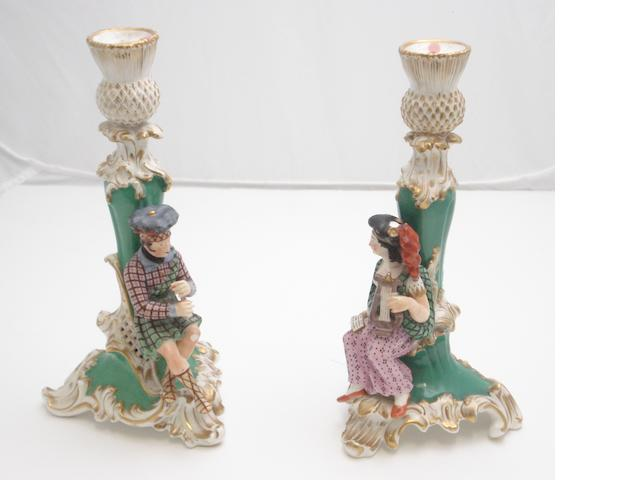 A pair of Staffordshire Scottish theme figural candlesticks Early 19th century