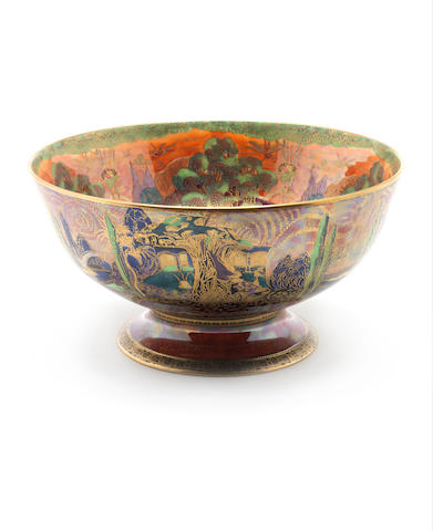 Daisy Makeig-Jones for Wedgwood 'Woodland Elves V - Woodland Bridge' a Flame Fairyland Lustre Punch Bowl, circa 1920