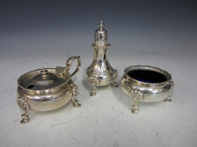 A silver three piece cruet set London 1947/8  (3)