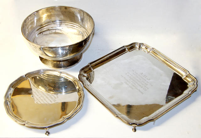 A footed rose bowl,Sheffield 1938, a waiter with beaded border, bearing presentation inscription 1905 and a square section salver, also inscribed Birmingham 1939, 47ozs (3).