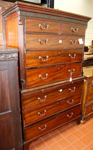A George III mahogany chest on chest,
