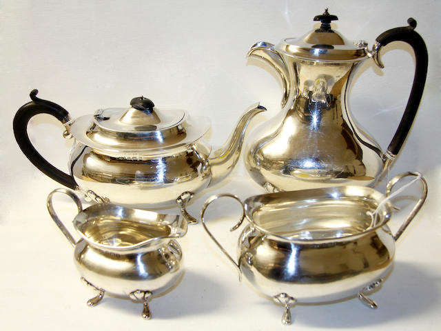 A silver four piece tea set,