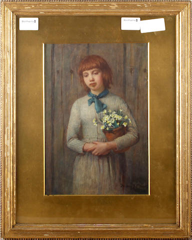 Mary H. S. Monks Girl with primroses