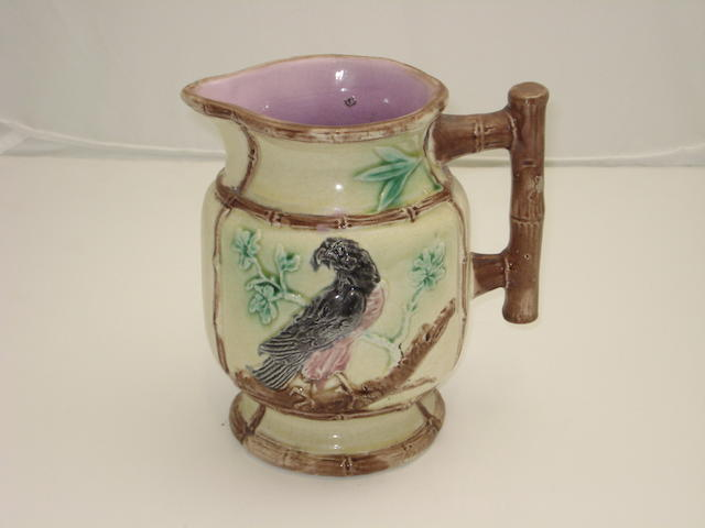 A majolica jug, Late 19th century, probably Alloa