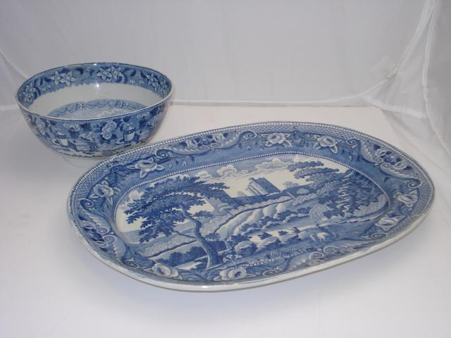 Two Scottish blue and white transfer printed pieces Mid 19th century