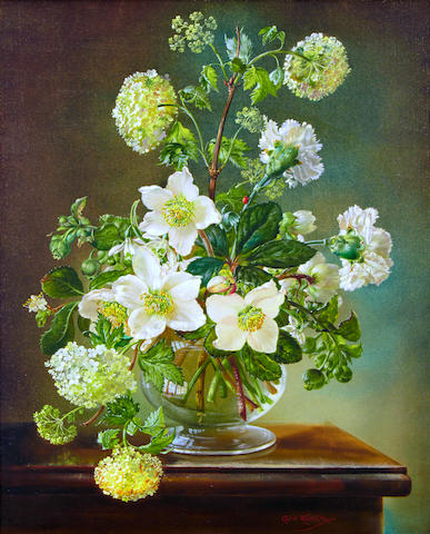 Cecil Kennedy (British, 1905-1997) Christmas Roses and Carnations, oil on canvas