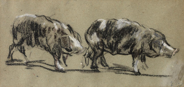 Eugène Boudin (1824-1898) Deux cochons
