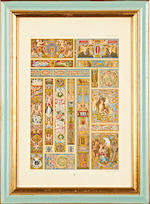 A set of twelve late 19th / early 20th century French coloured plates of designs by Cesar Daly