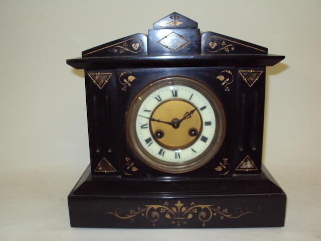 A Victorian slate mantel clock