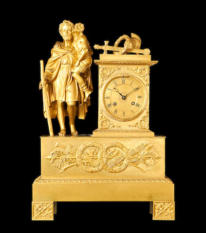 A late 19th century French Empire style ormolu figural mantel clock by Leroy & Fils, Paris