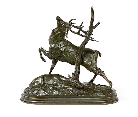 After Antoine Louis Barye, French (1795-1875) A 19th century bronze model of a stag and doe Cert frottant ses bois contre un arbre cast by Barbedienne