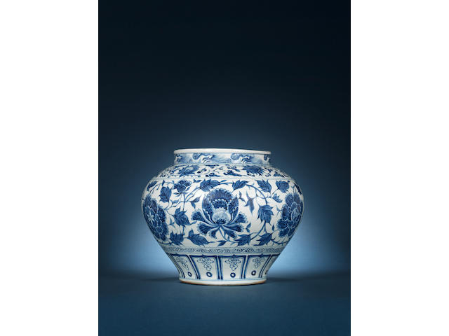 An important blue and white 'peony and lotus' scroll jar, guan Yuan Dynasty
