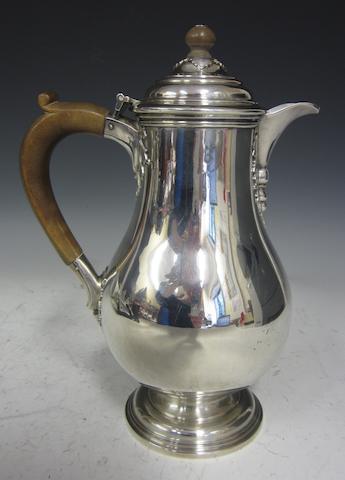 A silver baluster hot water jug London 1931