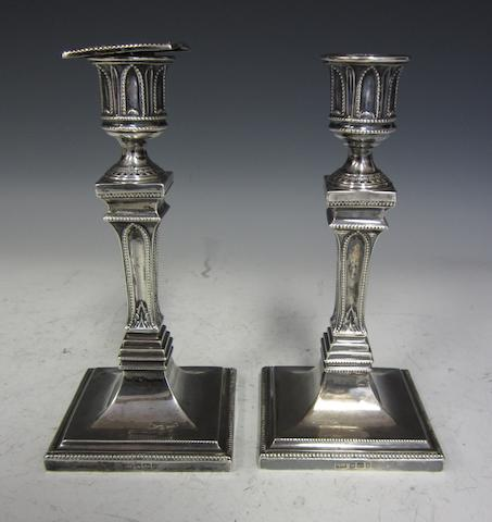 A Victorian silver pair of candlesticks Sheffield 1896  (2)