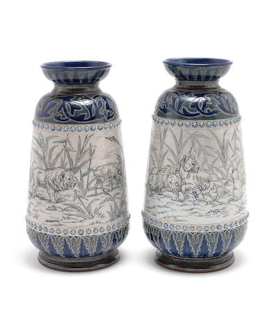 Hannah and Florence Barlow for Doulton Lambeth a Good Pair of Vases with Lions and Cubs, 1877