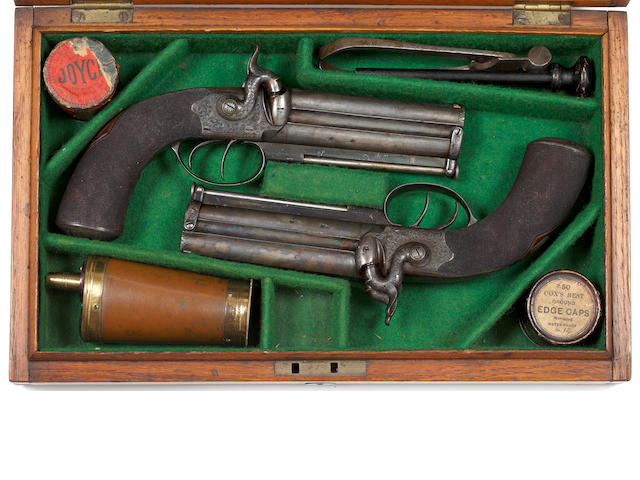 A Good Cased Pair of Double-Barrelled Percussion Box Lock Side Lock Over and Under Travelling Pistols