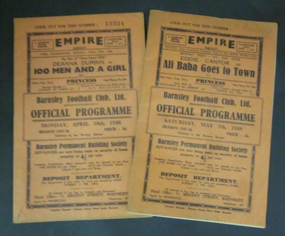 1937/38 Barnsley home programmes