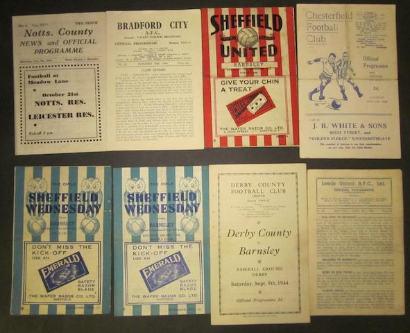 1944/45 Barnsley away programmes