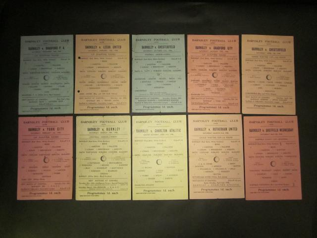 1944/45 Barnsley home and away programmes