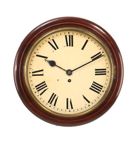 A Victorian mahogany single fusee wall timepiece