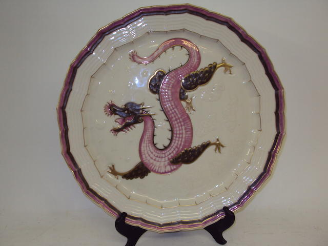 A large First Period Belleek plate, late 19th century