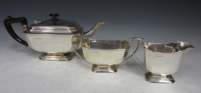A silver three piece tea service Birmingham 1921  (3)