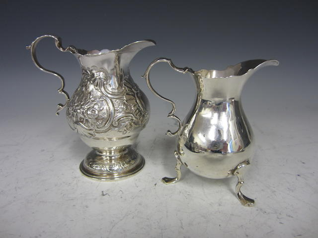 A George II silver baluster cream jug London 1746  (2)