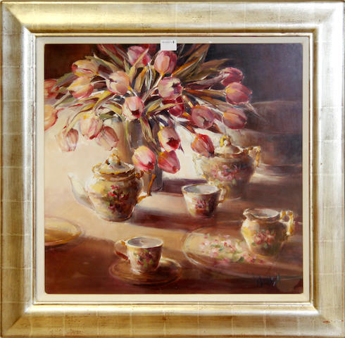 Ethel Walker, 'Misty River Glen Etive', oil, 50cm x 60cm together with 'Pink Tulips and China' by the same hand, 58cm x 60cm (2)