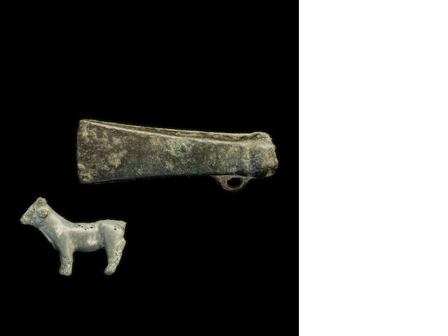 A miniature Bronze Age celt(list 2/2) & a small Roman bronze cow(14) (2)