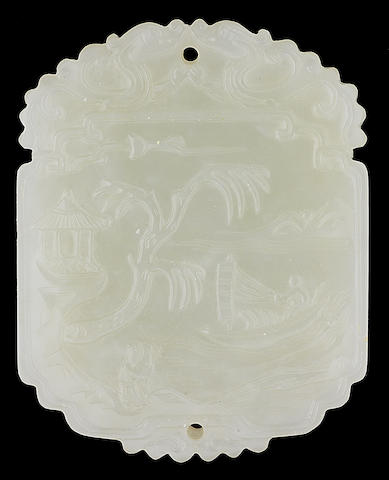 A fine very pale green jade plaque 18th/19th century