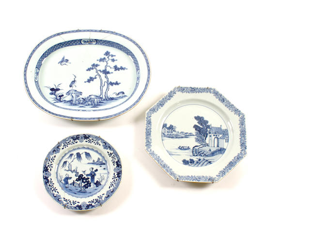 An early 19th century Chinese porcelain oval dish
