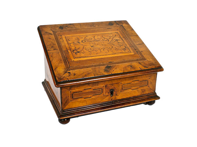 A 19th century, 17th century style Italian walnut writing box