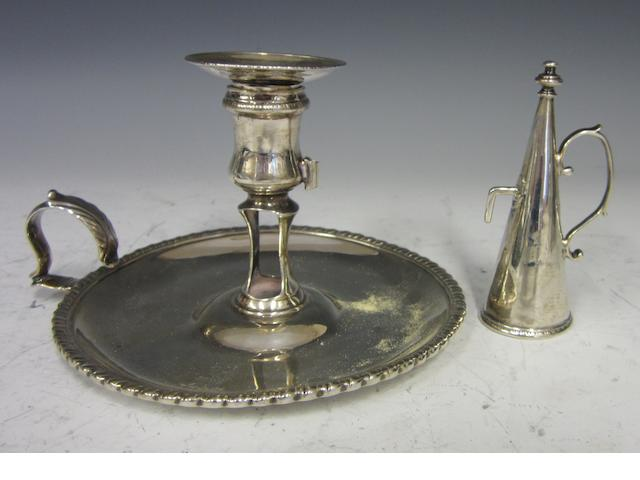 A George III silver chamber stick London 1771  (2)