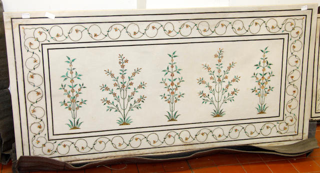 A white marble terrace table top,