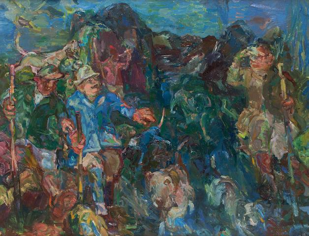 Sir Robin Philipson, RA PRSA FRSA RSW RGI DLitt LLD (British, 1916-1992) Otter Hunt 71 x 92 cm. (27 15/16 x 36 1/4 in.)