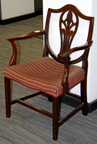 A George III mahogany elbow chair,