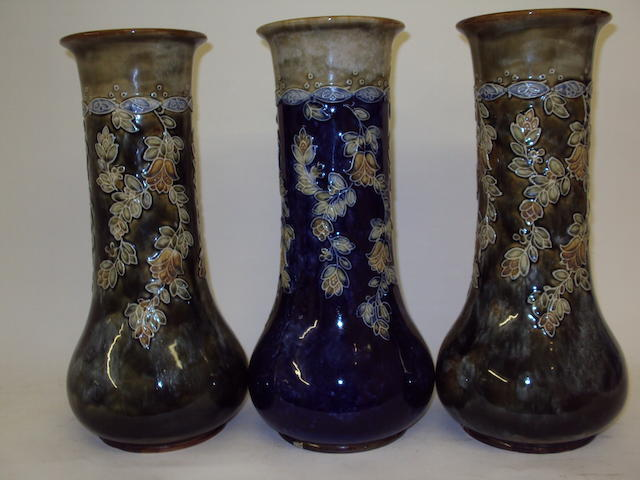 Three decorative Royal Doulton vases
