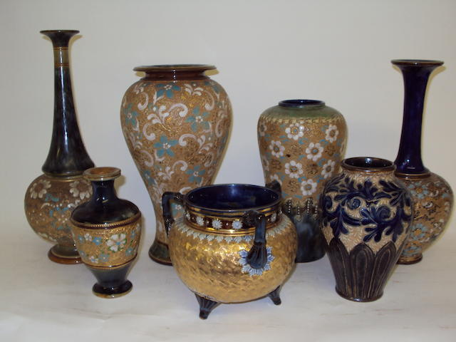 A small collection of Royal Doulton and Doulton Lambeth vases