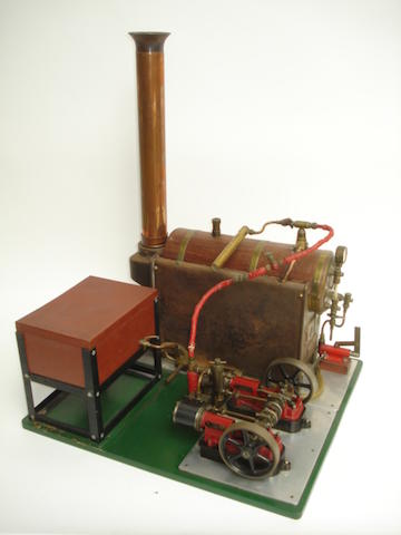 Horizontal boiler and twin cylinder steam plant set