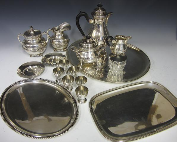 a German silver three piece coffee service circa 1900, stamped .925  (Qty)