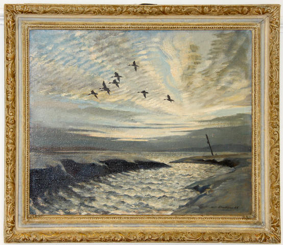 Keith Hope Shackleton (British, born 1923) Geese flying over the estuary