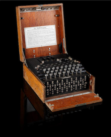 An Enigma Code Machine in original oak case,No. 13598/jla/44