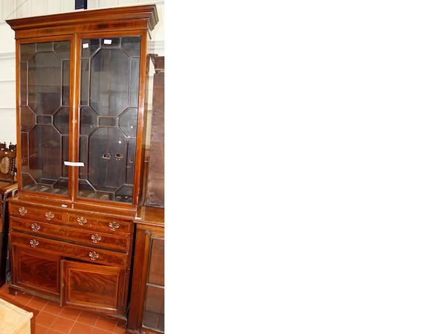 An Edwardian mahogany and satinwood banded bookcase,